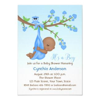 Dark Skinned Baby Boy in Tree, Baby Shower Card