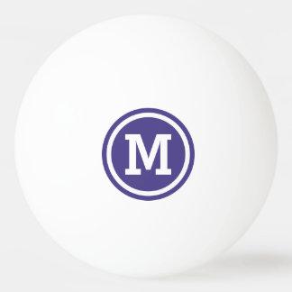 Dark Slate Blue Circle Monogram Ping Pong Ball