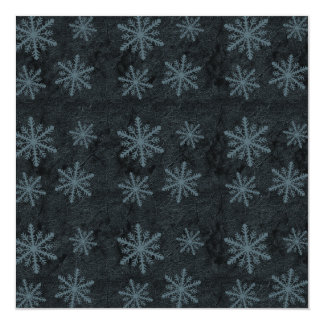 Dark Snowflake Pattern Blue Invites