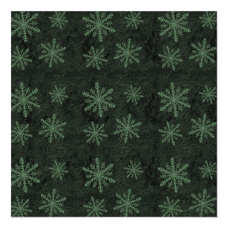 Dark Snowflake Pattern Green Invites