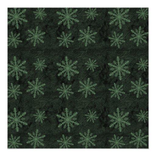 Dark Snowflake Pattern Green Invites