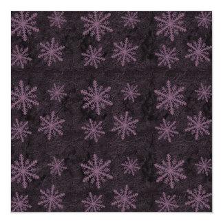 "Dark Snowflake Pattern Pink Invites 5.25"" Square Invitation Card"