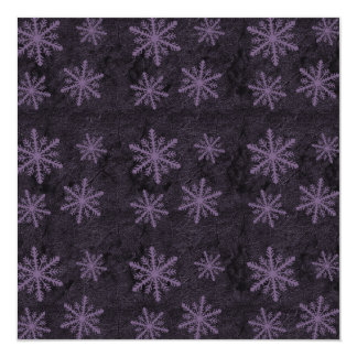 Dark Snowflake Pattern Purple Invites