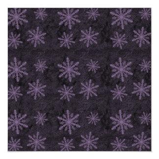 Dark Snowflake Pattern Purple Invites