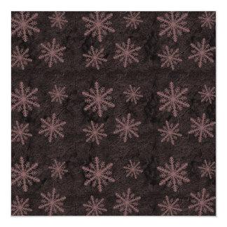 Dark Snowflake Pattern Red Invites