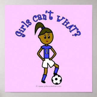 Dark Soccer Girl in Blue Poster