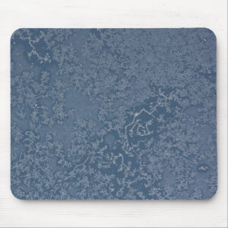 Dark Steel Blue Icy Crystals Mouse Pad