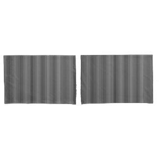 Dark Steel Gray Stripe Line Industrial Pattern Pillowcase