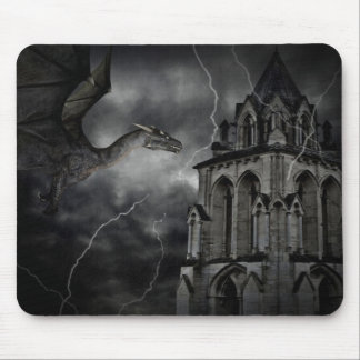 Dark stormy night gothic fantasy dragon mouse pad