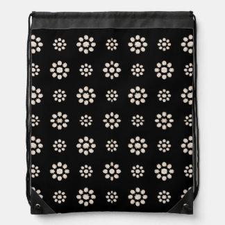 Dark Stylized Floral Pattern Drawstring Bag