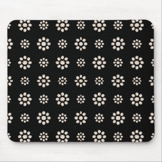 Dark Stylized Floral Pattern Mouse Pad