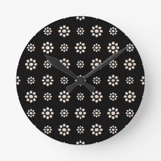 Dark Stylized Floral Pattern Round Clock
