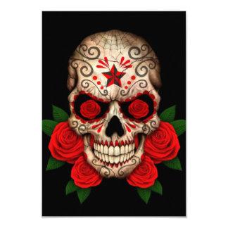 Dark Sugar Skull with Red Roses 9 Cm X 13 Cm Invitation Card
