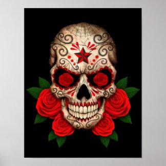 Dark Sugar Skull with Red Roses Poster