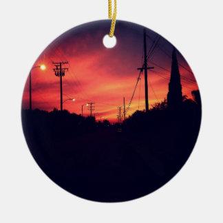 Dark Sunset Ceramic Ornament