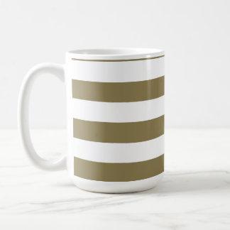 Dark Tan Horizontal Stripes; Striped Basic White Mug