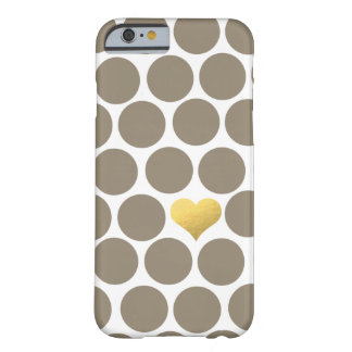 Dark Tan Polka Dot Gold Foil Heart iPhone Barely There iPhone 6 Case