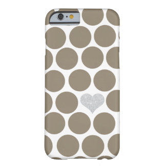 Dark Tan Polka Dots Silver Heart iPhone Barely There iPhone 6 Case