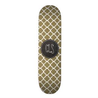 Dark Tan Quatrefoil; Retro Chalkboard Skateboards