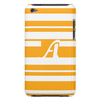Dark Tangerine and White Random Stripes Monogram Case-Mate iPod Touch Case