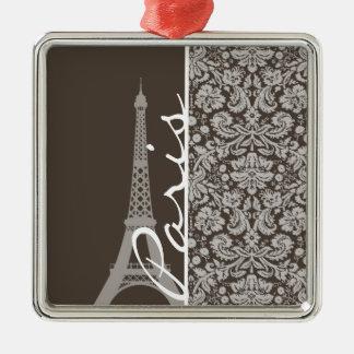 Dark Taupe, Brown Damask; Paris Christmas Ornaments