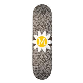 Dark Taupe Damask Daisy Custom Skateboard