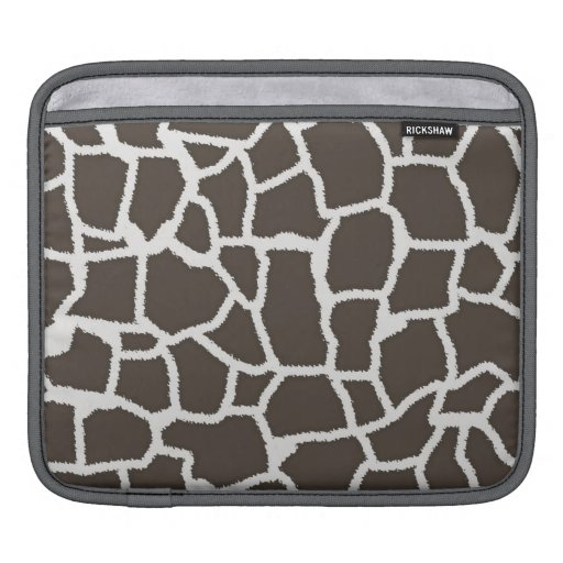 Dark Taupe Giraffe Animal Print iPad Sleeves