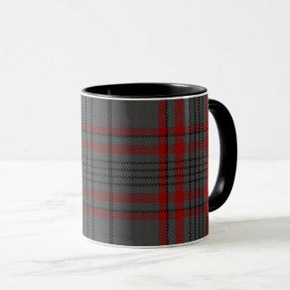 Dark Taupe Grey Red Black Large Tartan Plaid Mug