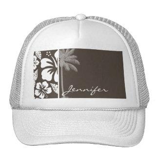 Dark Taupe Tropical Hibiscus; Summer Palm Trucker Hat