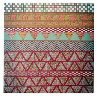 Dark Teal Amber Boho Tribal Stripes Pattern Large Square Tile