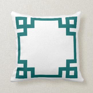 Dark Teal and White Greek Key Border Cushions