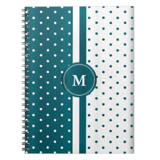 Dark Teal and White Polka Dots Spiral Notebooks