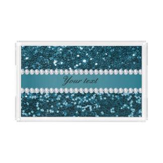 Dark Teal Blue Faux Glitter and Diamonds Acrylic Tray