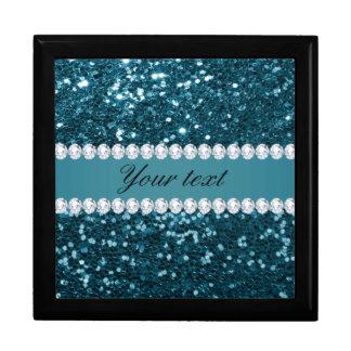 Dark Teal Blue Faux Glitter and Diamonds Gift Box