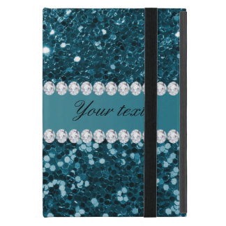 Dark Teal Blue Faux Glitter and Diamonds iPad Mini Cases