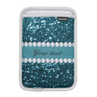 Dark Teal Blue Faux Glitter and Diamonds iPad Mini Sleeve