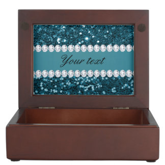 Dark Teal Blue Faux Glitter and Diamonds Keepsake Boxes