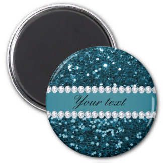 Dark Teal Blue Faux Glitter and Diamonds Magnet