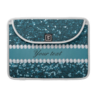 Dark Teal Blue Faux Glitter and Diamonds Sleeve For MacBook Pro