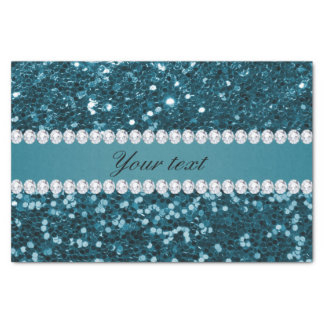 Dark Teal Blue Faux Glitter and Diamonds Tissue Paper