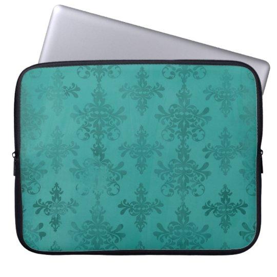 dark teal blue green distressed damask laptop sleeve