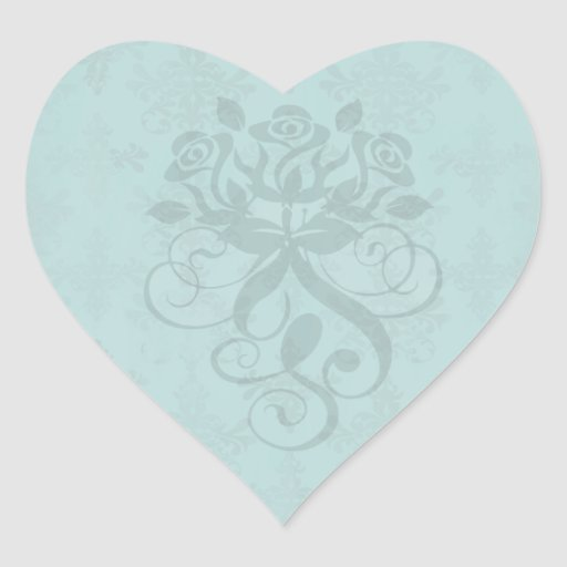 dark teal blue green distressed damask heart stickers