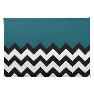 Dark Teal Blue Pattern On Large Zigzag Chevron Place Mats
