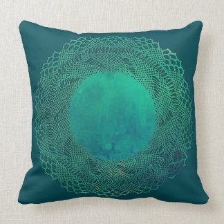 Dark Teal Crochet Lace Doily Pillow