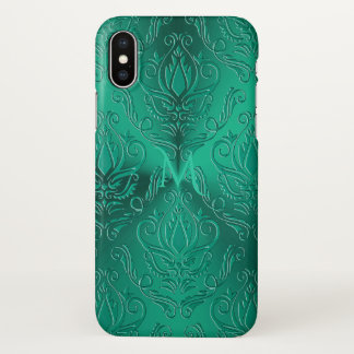 Dark Teal Green Damask Monogram iPhone X Case