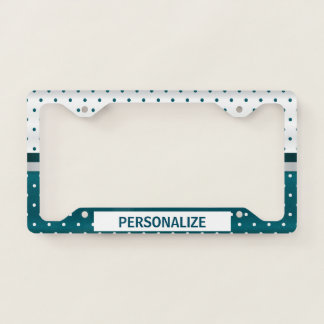 Dark Teal Polka Dot Pattern Licence Plate Frame