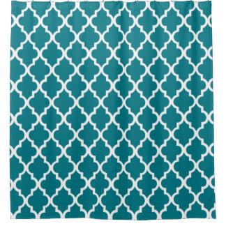 Dark Teal Quatrefoil Pattern Shower Curtain