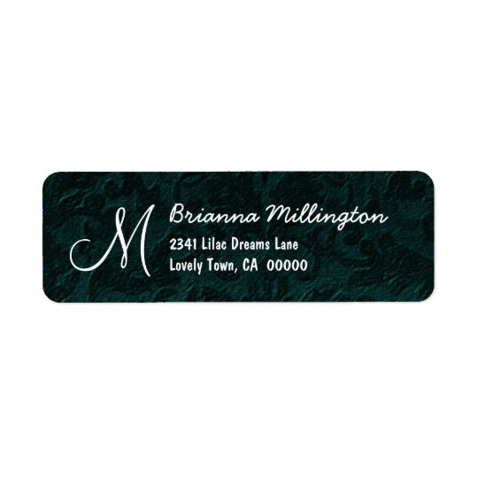 DARK TEAL Textured Background Monogram Version 003 Return Address Label