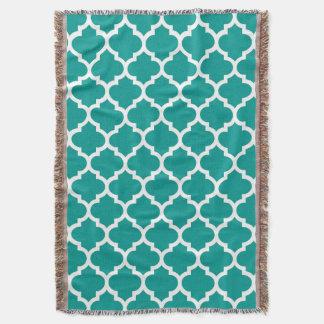 Dark Teal White Moroccan Quatrefoil Pattern #5