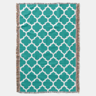 Dark Teal White Moroccan Quatrefoil Pattern #5 Throw Blanket